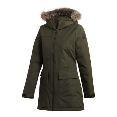 阿迪达斯(adidas)2018冬季新款女子防风保暖连帽中长棉服休闲运动外套CY8600