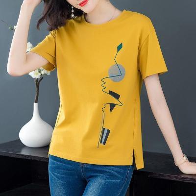 棉短袖T恤女新款女裝夏季韓版寬松大碼體恤純色印花上衣潮 暖青匯