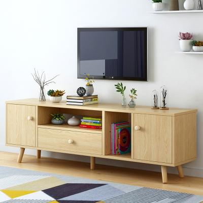 简易电视柜家用现代简约小户型客厅家具多功能省空间储物柜子地柜 I款北美原木纹色 组装