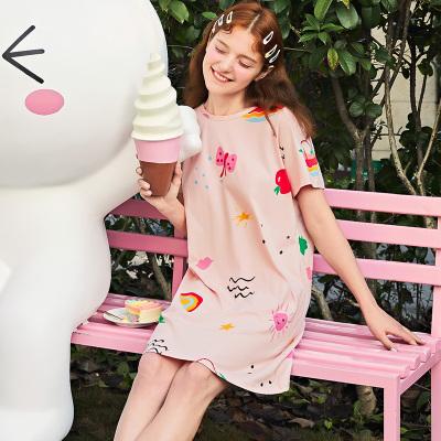 芬騰夏季短袖睡裙女士純棉薄款短裙家居服可愛卡通全棉連衣裙睡衣