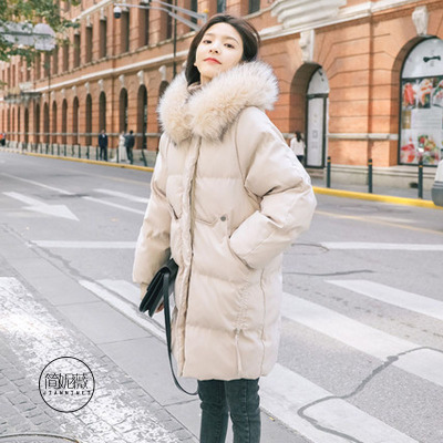 简妮薇(JIANNIWEI)棉服女中长款韩版2019新款加厚羽绒棉衣学生宽松面包服棉袄外套羽绒服女