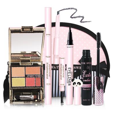 粉色安琪sweetpink 時尚眼妝5件套(C組眼影日落橙+眉筆自然灰+化妝包+睫毛膏+眼線液)