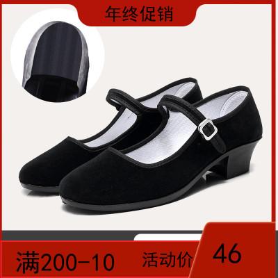 民族舞蹈鞋胶州秧歌鞋女高跟东北藏族考级黑布鞋舞蹈跟鞋女民间舞