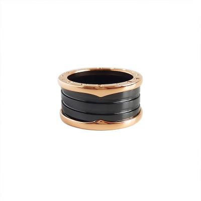 【正品二手95新】寶格麗(BVLGARI)B.ZER01 AN855563 18K玫瑰金 黑陶瓷 四環 戒指 59號 全