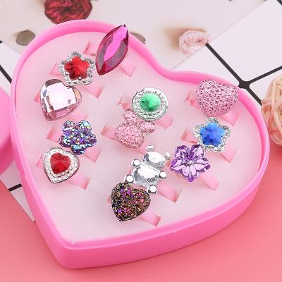 【精品好貨】兒童戒指女公主可愛卡通首飾品女童寶寶玩具指環小女孩創意小禮品 12只裝寶石款3