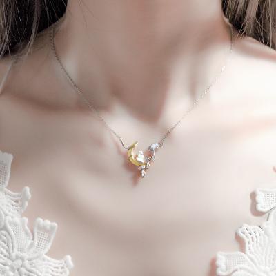 花語詩月月亮兔子項鏈女銀鎖骨月光石輕奢小眾設計潮網紅七夕送女友