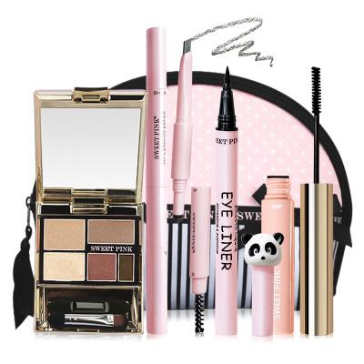 粉色安琪SWEET PINK 時尚眼妝5件套(B組眼影時尚棕+眉筆自然灰+化妝包+纖長睫毛膏自然棕+眼線液)