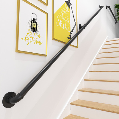 樓梯扶手現代簡約家用鐵藝水管室內閣樓靠墻老人防滑扶梯幼兒園拉 長100離墻高7cm