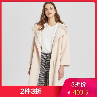 【2件3折價:403.5】MECITY女裝春季連帽大拉鏈雙面呢大衣中長款外套