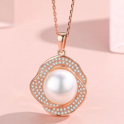 佰色傳情純銀項鏈淡水珍珠吊墜女時尚氣質夸張大牌生日禮物