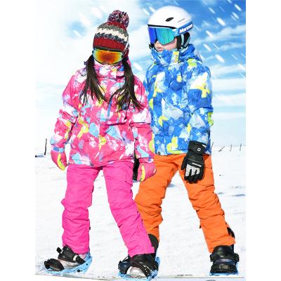 儿童滑雪服套装加厚保暖防寒防风防水女童户外登山服男童滑雪衣裤闪电客滑雪衣