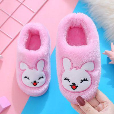 La MaxZa儿童棉拖鞋男女冬季加厚保暖套脚带后跟防滑新款可爱兔子卡通棉鞋