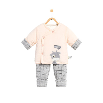 童泰TONGTAI婴儿冬季加厚偏开棉衣套装1-6个月宝宝儿童通用棉衣棉裤两件套66cm