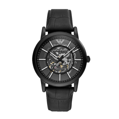 海外直郵歐美品牌原裝進口包稅阿瑪尼,EMPORIO.ARMANI手表自動機械表男表皮帶手表鏤空自動機械腕表AR60008
