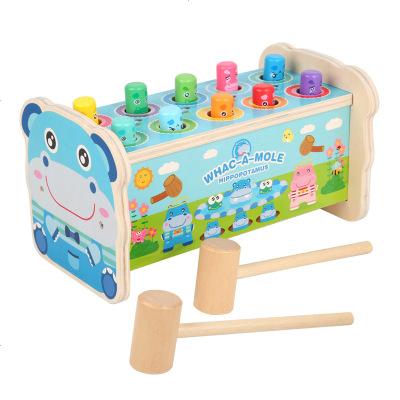 河馬打地鼠鼠木質大號0幼兒童益智力嬰兒1一2歲半3男孩女孩寶寶敲打玩具 定制