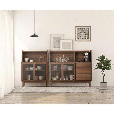 梦引 北欧餐边柜简约现代实木茶水柜玻璃柜储物柜碗柜厅展示玄关柜