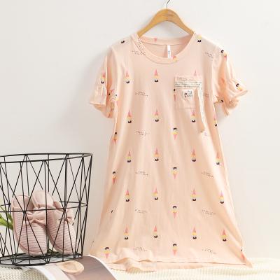 紅豆(HODO)女士睡裙卡通睡裙春夏純棉木耳邊清新可愛短袖睡裙家居服