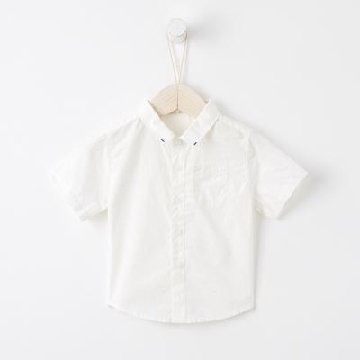 【99元任選3件】米喜迪mecity童裝男寶寶夏新款嬰兒短袖襯衫純棉上衣