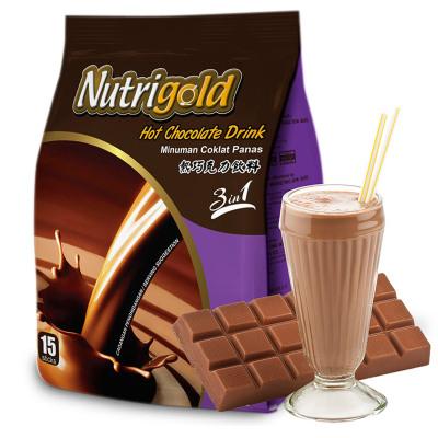 馬來西亞 原裝進口Nutrigold諾思樂三合一速溶巧克力可可粉固體沖飲 特濃型450g (30g*15條)