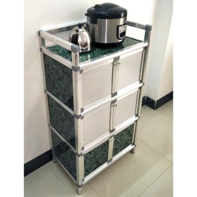 碗柜塑料餐具消毒碗柜簡易櫥柜碗柜壁掛式組合廚房柜碗柜中號三層石色56x35x105cm雙波迷娜BOMINA