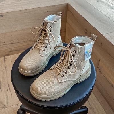奧休斯(all shoes) 2020秋季增高女士靴子 女舒適軟底耐磨防滑高幫馬丁靴