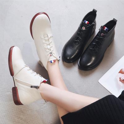 策霸2020秋冬新款真皮平底圓頭女士馬丁靴 英倫平跟女短靴子大碼女靴