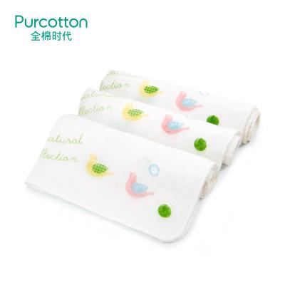 全棉時代 嬰兒口水巾 寶寶純棉卡通紗布小手帕3條/袋*3
