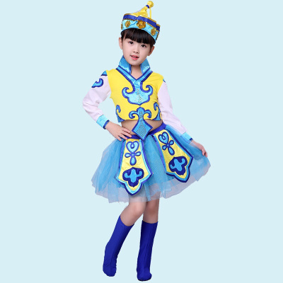 因樂思(YINLESI)少兒演出服兒童表演服民族蒙族女童筷子舞蹈服幼兒蒙古舞服裝紗裙