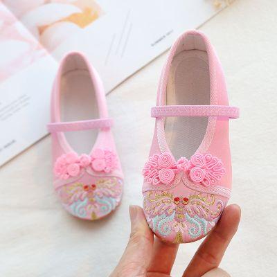BPMA女童古裝公主繡花鞋寶寶中國風童鞋老北京兒童布鞋漢服鞋子舞蹈鞋