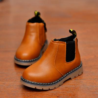 芳棋云品牌兒童鞋韓版女童加絨馬丁靴2019春秋男童低筒短靴時裝皮靴復古棉靴