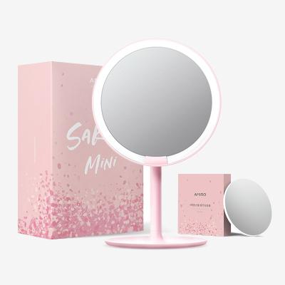 AMIRO mini便攜版高清真彩日光化妝鏡放大鏡套裝 櫻花粉