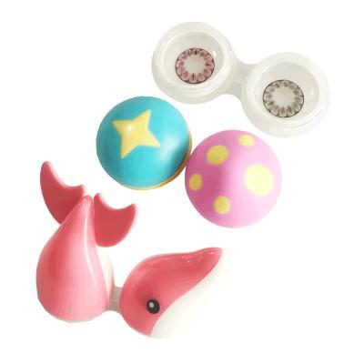 蘑菇海豚糖果隱形眼鏡美瞳伴侶盒雙聯盒簡約便攜