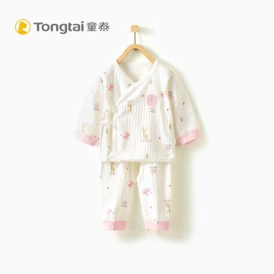 童泰TONGTAI嬰兒純棉和服開襠套裝0-3個月寶寶系帶內衣褲子兩件套