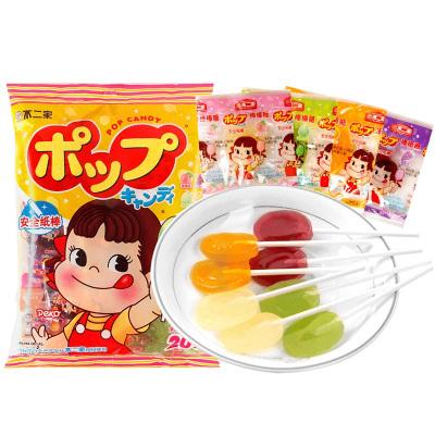 不二家棒棒糖(哈密瓜+香橙+蜜桃+葡萄)20支袋裝果味牛奶棒棒糖硬糖兒童休閑零食糖果