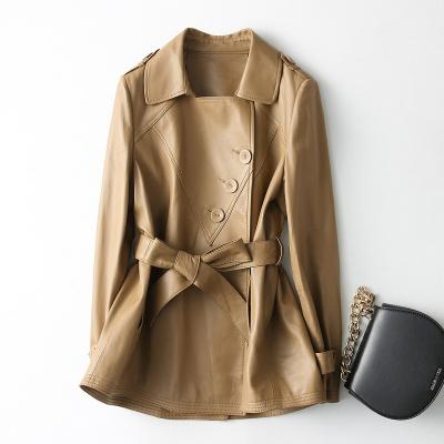 女式时尚中长款方领系带真皮绵羊皮单皮大衣