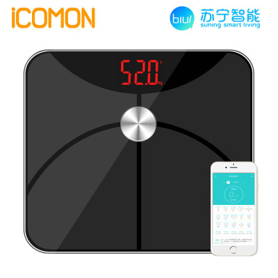 沃莱(ICOMON)智能体脂秤i5黑色ITO金属镀膜钢化玻璃面板人体秤健康秤家庭秤27项数据180kgLED显示