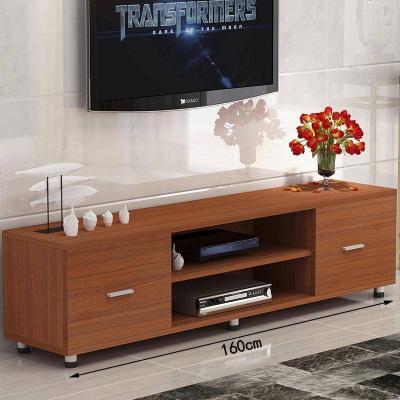 簡約電視柜鋼化玻璃客廳臥室小戶型創意茶幾組合雙抽屜 組裝_1.6米柚木無玻璃