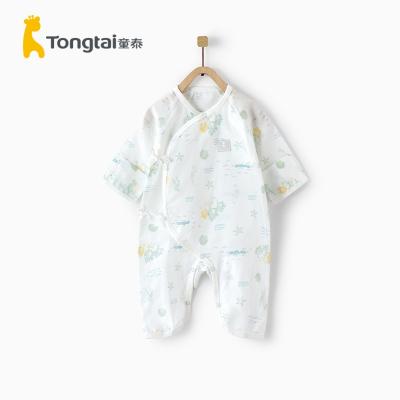 童泰夏季新款嬰兒衣服0-3月新生兒偏開系帶連體衣寶寶蝴蝶哈衣