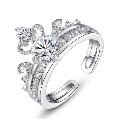 奥沃姿戒指银戒指抖音同款皇冠二合一戒指女 时尚锆石戒指开口可调节s925银戒指 戒指送女友通用情人节礼物