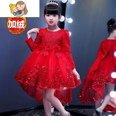 兒童禮服秋冬長袖女童公主裙紅色小女孩婚紗裙加絨主持人演出服裝