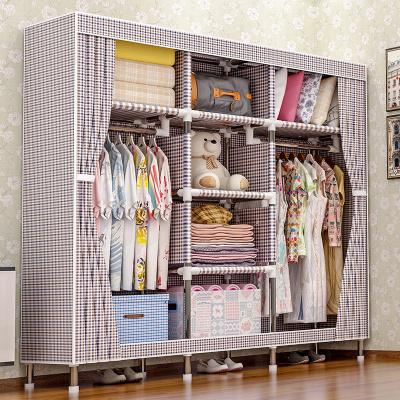 艾格調布衣柜 雙人25MM鋼管簡易衣柜組裝布藝宿舍衣服柜加粗加厚牛津布折疊衣櫥 2525