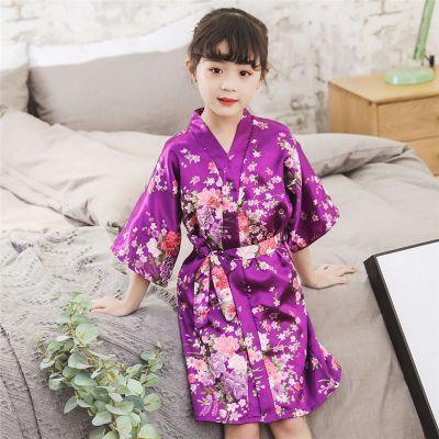 夏季女童開衫仿真絲小碎花浴袍女寶寶家居和服睡袍2020兒童裙 臻依緣