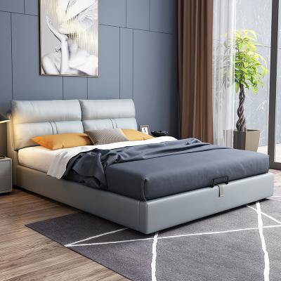 憶斧至家 北歐真皮床 現代簡約雙人床軟體皮床婚床1.8米1.5米床儲物床主臥大床