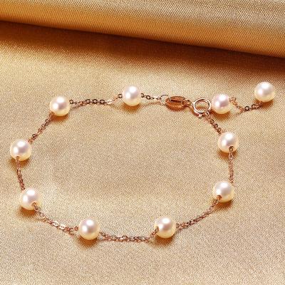 佰色傳情(BRIR)4-5mm正圓強光18K淡水珍珠手鏈日韓時尚