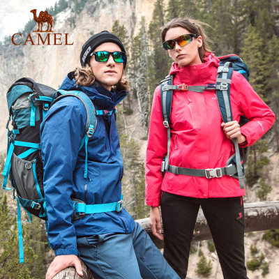 CAMEL骆驼户外冲锋衣 秋冬情侣款男女潮牌加绒加厚三合一两件套登山冲锋衣