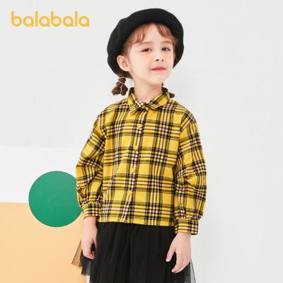 巴拉巴拉童裝女童襯衫兒童襯衣2020新款寶寶上衣格紋小童韓版洋氣