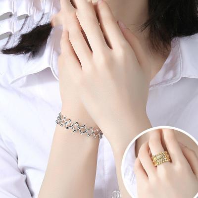 魔戒925纯银戒指变手镯女火爆戒指 同款可伸缩变形手环女玫瑰金色
