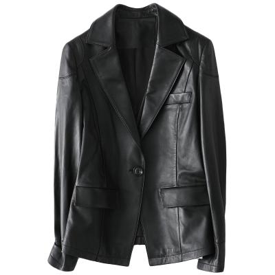 海寧2020春季時尚新款真皮皮衣女士修身休閑綿羊皮外套W