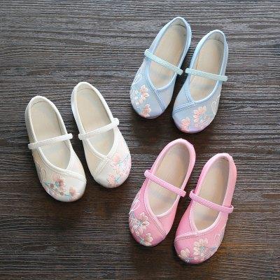 尚品杭漢服女童繡花鞋兒童布鞋民族風寶寶公主鞋學生古裝表演出鞋