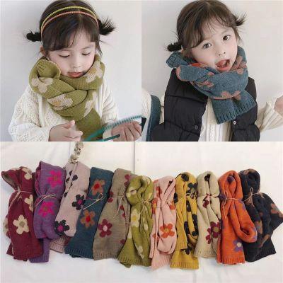 韩版新款儿童泫雅风小花时尚毛线围巾 宝宝可爱甜美保暖针织围巾 棉 诺妮梦